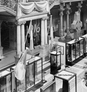 "View of ""1916"" exhibition sign, central court, Kildare Street, 1941. Shot from the balcony looking towards the first floor stairway (from glass plate negative DF5406, NMI Collection)"