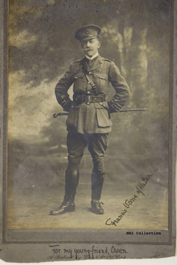 Major Sir Francis Vane, photograph autographed for Owen Sheehy Skeffington (NMI Collection)